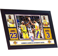 Nuevo Lebron James Anthony Davis Los Angeles Lakers firmado poster foto Enmarcada Nba