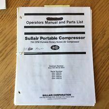 Sullair 750 Cfm Operation Maintenance Manual Parts Book List Air Compressor