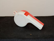 Plastic Red and White Whistle over 3 inches USA. (6546)