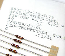 100x Widerstand 330 Ohm, 0.25 W, AEG / Telefunken Resistors, NOS