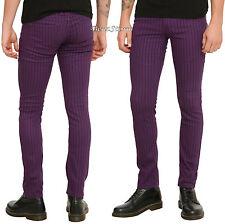 "RUDE Purple & Black Pinstripe Mens Skinny Pants Jeans 36"" Waist 32"" Inseam NEW"