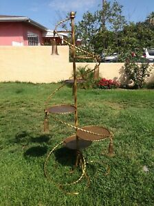 Midcentury Italian Gold Gilt Wrought Iron Spiral 6 Holder Staircase Planters 68""