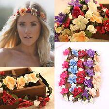 boho estilo niña Rosas Flores Flor Boda Fiesta Cabello Corona diadema diadema