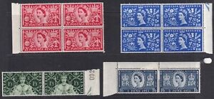 GREAT BRITAIN 1953 Coronation Blocks of 4 and pairs. SG 532-535. MNH/ MM