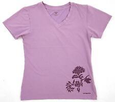 Patagonia Vitaliti Purple Organic Cotton V-Neck Floral Tee Shirt Top Sz Small