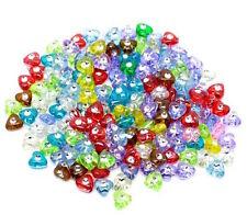 100 perles acrylique mixte coeur 8 mm