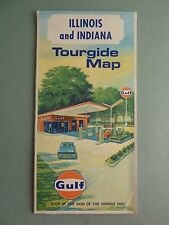 1969 Gulf Tourgide Road Map ILLINOIS INDIANA Highway Route 66 *MINT*