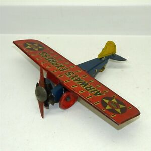 Vintage Tin Litho Girard Airways Express, Wind Up Toy Airplane, Red & Blue