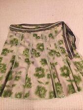 Old Navy Women Pleated Skirt Multi Green White Size 18