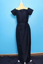 Vintage Black Dress Sz M/L Layered CrepeFloor Length Buttons Rockabilly Pinup