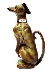 "Fine Art Deco Era ""Gypp"" Greyhound Majolica Figural Dog French Absinthe Pitcher"