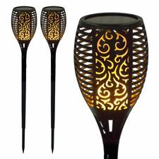 GardenKraft LED Solar Flickering Flame Effect Torch Stake Garden Lights - 2 Pack
