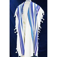 WOOL TALLIT WITH BLUE AND PURPLE STRIPES - Jewish Prayer Shawl -tallis- SIZE 70