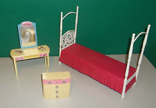 Barbie Furniture Lot - Bedroom - Bed, Vanity, Dresser