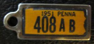 Pennsylvania 1951 MINI License Plate KEYCHAIN TAG DISABLED AMER. VETERAN # 408AB