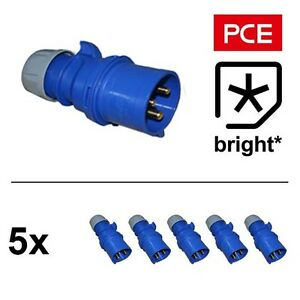 5 x 16 Amp 3pin 1PH Blue Plug 16A Commando, Caravan, Camping, Hook Up, Generator