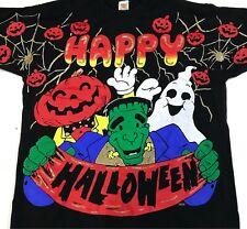 New listing vintage 90s Happy Halloween Cartoon T-Shirt Xl frankenstein ghost hip hop spider