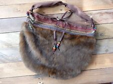 Handmade Vintage Hobo-Style Gypsy/Hippie Faux Fur Purse/Bag