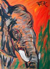 Jumbo Elefant Gemälde 85 x 60 cm Felix Samuel Pfefferkorn *1945 WVZ IX-11 selten