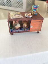 Dollhouse Miniature Hamsters In Cage
