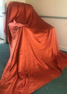 """Vintage Retro 1950s 60s Heavy Silk Style Speckled Burned Orange Curtains 80""""L"""