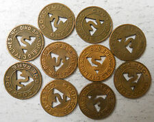 Lot of 10 Springfield City Lines (Ohio) transit tokens - Oh830F