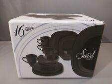 Mikasa Swirl Ombre Graphite 16 Piece Dinnerware Set Serve Food Cup Plates Bowls