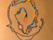 14k sleeping beauty turquoise ethopian fire opal lariat necklace