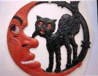 "Vintage ""Halloween"" Decoration -Orange Quarter Moon Face & Black Standing Cat*"