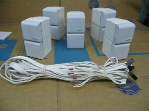 Set of 5 Bose Acoustimass/lifestyle Double Cube Speakers Redline in White Color