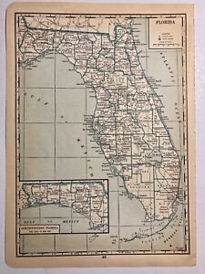 1935 Antique County Map J Thomas Co Florida Fl Miami Collier Broward Dade Dixie