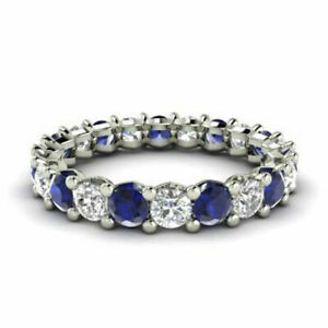 2.03 Ct New Real Diamond Blue Sapphire Wedding Bands 14K White Gold Size M N O P