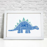 Personalised Word Art Dinosaur Picture Boys Bedroom Birthday Gift Frame Print