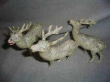 "Reindeer Celluloid, Silver Glitter 3 Are 3.75"" Long & Tall Made In JapanVintage"