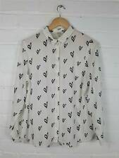 Papaya White Heart Print Blouse Shirt Size UK 14 Valentines