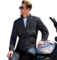 Men Biker Jacket Soft Padded Motorcycle Jackets Slim Heavy Showerproof Windproof
