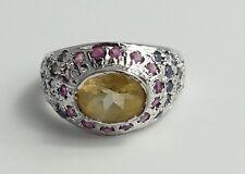 Bague Citrin 24 bleus et 14 Rouges Gemmes Argent 925 Vintage 70er silver ring