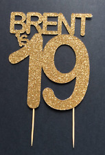 Any Birthday Glitter plain font name&number cut out cake topper,big colour range