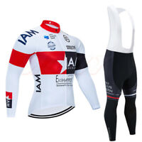 Mens Long Sleeve Cycling Jersey Top Sunblock Jacket Bibs Tights Bicycle White
