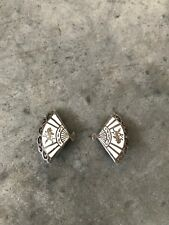 VINTAGE Siam Sterling White Asian Fan Clip On Earrings Japanese Chinese Jewelry
