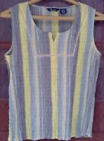 SO GSJC women's top sleeveless size XL shirred striped cropped blue tank cotton