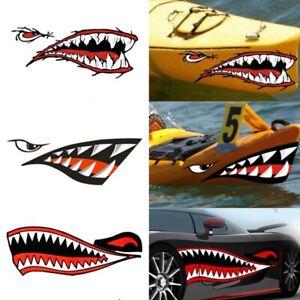 2pcs Car Stickers 3D Shark Teeth Mouth Funny Decal Car-covers Kayak Canoe Decor