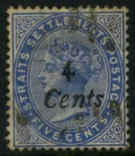Malaya Straits Settlements 1884 SG#72, 4c On 5c Blue QV Used Cat £5500 #D27805