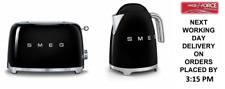 SMEG Retro Black Kettle & 2 Slice Toaster - KLF03BLUK & TSF01BLUK - Brand New
