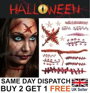 Halloween Zombie Scars Tattoos Fake Blood Scab Scar Wound Costume Make-Up Stitch