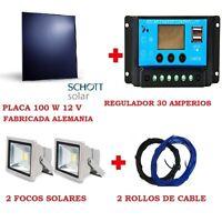 KIT ILUMINACION: PLACA SOLAR ALEMANIA 100W 12 V + REGULADOR 30A + 2  Led+2 Cable