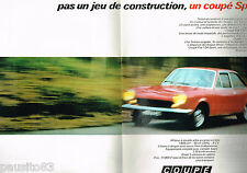 PUBLICITE ADVERTISING 065  1969  FIAT 124 COUPE sport   ( 2 pages)