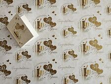 50th Golden Anniversary Wrapping Paper Gift Wrap, 2 Sheets, 1 Tag 50