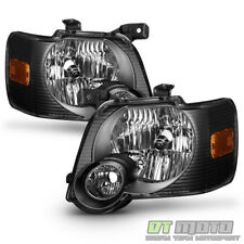 Black 2006-2010 Ford Explorer Headlights Headlamps Replacement Driver+Passenger