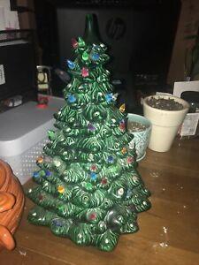 "BEAUTIFUL Vintage Holland Mold Ceramic Christmas Tree & Base & Lights &BIRDS 20"""